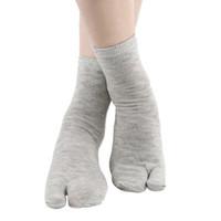 Split Toe Socks Hallux Valgus Orthosis Men's Flip Flop Socks Tabi Split Toe Geta Wicking Cotton
