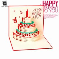 Wholesale pop up cards cake resale online - 3D Handmade Custom Birthday Invitations Cards Wishes Messages Greeting Gift Cards Postcards Vintage Laser Cut Pop Up Cake