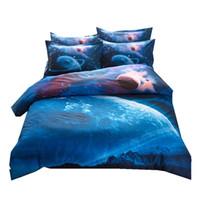 cama espaço venda por atacado-2 pcs / 3 pcs / 4 pcs Folha de Capa de Edredão Fronha Set Universo Outer Space Temático Bed Linen Presentes de Natal ZZ
