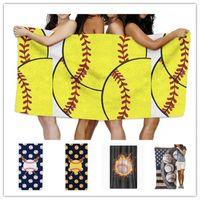 ingrosso giochi bikini-150 * 75cm Summer Beach Coperta Giochi di Sfera Asciugamano Bikini Wraps Scialle in microfibra Asciugamani da bagno Softball Picnic Mat Sports Ball Tovaglia B5901
