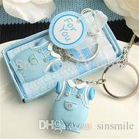 llavero azul bebé al por mayor-Venta al por mayor- 30pcs / Lot + Baby Shower Favors and Gift Cute Baby Boy Clothes Design Blue Keychain Favors + ENVÍO GRATIS