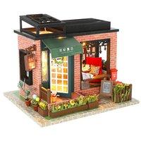 ingrosso miniature-Miniature per case delle bambole Fai da te Kit di lavoro manuale con mobili LED Set di scrivania per scrivania