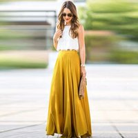 богемная мода макси юбка оптовых-Women Chiffon Long Skirt New Fashion Bohemian Beach Pleated Skirt Summer Maxi