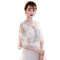 brautschals für den frühling großhandel-2019 New Spring Lace Kristall Hochzeit Bolero Wrap White Braut Jacke Schal Plus Size Hochzeit Zubehör