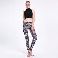 ingrosso pantalone yoga bianco viola-Leggings donna yoga bianco viola screziato filato netto splicing 3D completo stampato abbigliamento casual yoga pantaloni ragazza palestra fitness matita adatta (Ypjyoga66056)
