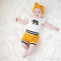 Wholesale cute elephant baby clothes resale online - kids designer clothes Newborn Baby Girls Clothes Set Cute Elephant Tops Off Shouler Romper Shorts Bottoms Headband Outfits