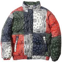erkekler engeli toptan satış-ss Hip Hop Ceket Parka Erkekler WINDBREAKER Streetwear Retro Desen Renk Bloğu Harajuku Kış yastıklı Ceket Coat Sıcak Dış Giyim