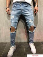 jeans de moda urbana venda por atacado-Homens Estilo Urbano Calças Lápis Cintura Meados Jeans Moda Slim Fit Rasgado Calça Jeans Roupas Calças Compridas Desgastadas