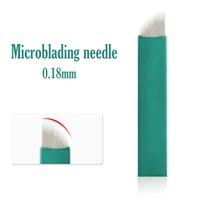 Wholesale tattoo needles line resale online - 2019 NEW mm Microblading needle green pin permanent makeup tattoo blade line eyebrow design for manual pen D embroidery eyeliner