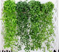 ingrosso vigneti falsi-Foglie verdi artificiali Fiori finti appesi vite Pianta foglie Fogliame fiore ghirlanda casa giardino parete appesa decorazione G406