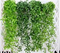 planta guirnalda al por mayor-Hojas Artificiales verdes Flores Falsas Colgantes Plantas de Vid Hojas Follaje Flor Guirnalda Hogar Jardín Colgante de Pared Decoración G406