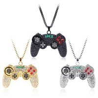 Wholesale games necklaces resale online - Hip Hop Men Necklace Full Bling Crystal Game Machine Handle Pendant Necklace Gold Silver Black Link Chain Necklace Boys Gift ZZA1746