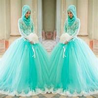 ingrosso vestito di tulle hijab-2019 New Hijab Lace Appliques Ball Gown Arabo elegante maniche lunghe abiti da sposa abiti da sposa musulmani blu chiaro 2018