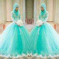simples vestidos de fiesta azules al por mayor-2019 Nuevo Hijab apliques de encaje vestido de bola árabe elegante de manga larga vestidos de novia azul claro musulmanes islámicos vestidos de novia 2018