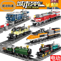intelligenzblöcke großhandel-Neue elektrische Eisenbahnschiene, die Bausteine für die Intelligenz von Kindern einfügt, die kompatiblen Baustein Toy Boys zusammenbaut