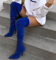 Wholesale over knee stretch boots for women resale online - Moraima Snc Royal Blue Suede Thigh High Heel Boots for Women Sexy Pointed Toe Stretch Fabric Over the knee Boots Thin Heels Shoe