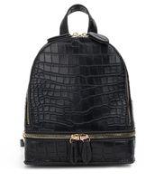 arka çanta deseni toptan satış-Yeni Bağbozumu Timsah desen PU Deri Küçük Sırt Çantaları Kadın Moda Fermuar Mini Sırt Paketi Kızların Sırt Çantası Omuz Çantası
