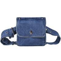 bolsos de moda de mezclilla al por mayor-Moda Mujer Retro Divertido Denim Azul Pequeño Cinturón Cinturón Cinturón Playa Mensajero Bolsa Hombro Bolso Bolso