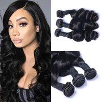 gevşek örgü saç uzantıları toptan satış-Perulu Gevşek Dalga Saç Örgüleri İnsan Saç Uzantıları 3 adet Saç Demetleri Fırsatlar Doğal Siyah G-EASY