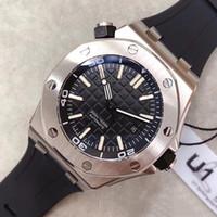 искусственные конфеты бриллианты оптовых-Оптовая продажа роскошных Royal Oak Offshore Diver 42 мм с автоматическим механизмом серии 15703 резиновый ремень мужские черный циферблат спортивные стеклянные часы