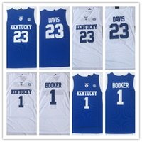 ingrosso pallacanestro kentucky-Kentucky Wildcats 23 Anthony Davis NCAA Devin # 1 Booker College Basketball Indossa maglia University Shirt Stitched jersey Mens