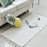 baumwollwebartteppiche großhandel-100% Baumwolle Handgewebte weiße Quasten Teppich Langlebig Maschinenwaschbar Bodenmatte Teppiche Teppich für Schlafzimmer / Küche / Wäscherei / Flur