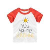 güneş kıyafetleri toptan satış-Çocuklar T Shirt 2019 Yaz Erkek Kız Kısa Kollu Sunshine Mektubu Baskı T Shirt Bebek Çocuk Pamuk Kırmızı Tops Tees Yeni giysi
