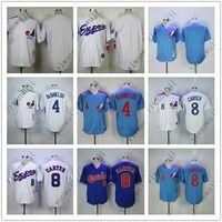ingrosso sfere di jersey di baseball-Maglie EXPOS a buon mercato Blank / 4 # Deshields / 8 # CARTER Bianco Grigio scuro blu chiaro maglie da baseball camicia cucita Top Quality!