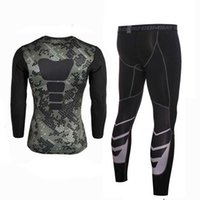 Discount tank men beach Men Compression Fitness Sets Tee Top + Capri Legging Workout Exercise Sport Yoga Beach Shirts Running Tights Tank Clothing Running Wear