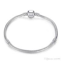silbernes armband für perlen großhandel-1 stücke Drop Shipping Silber Überzogene Armbänder mit LOGO Frauen Schlangenkette Charme Perlen für pandora Armreif Kinder Geschenk B001