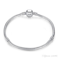 Wholesale silver beads resale online - 1pcs Drop Shipping Silver Plated Bracelets with LOGO Women Snake Chain Charm Beads for pandora Bangle Bracelet Children Gift B001