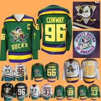 The Mighty Ducks Of Anaheim Movie Jersey 33 Greg Goldberg 66 Gordon Bombay 96  Charlie Conway 99 Adam Banks Hockey Jerseys b36b253b8