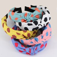 Wholesale korean headband for girls resale online - Korean Vintage Wide Top Knot Hairbands for Women and Girls Fashion Hair Decoration Sweet Dots Headband