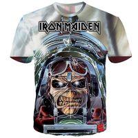 mais tamanho camisa crânio mulheres venda por atacado-Hipster T Shirt Iron Maiden Impresso 3D Camisetas Homens Mulheres Casais Heavy Metal T-shirt Crânio Top Tee Plus Size 5XL