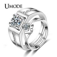 ingrosso anelli di gioielli umode-UMODE Brand Engagement Zirconia Mens Womens Love Resizable Anelli di nozze Set Promise Anelli per Coppie Gioielli Stes UR0445