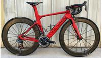 ingrosso vendita di biciclette in carbonio-2019 colnago carbonio Completa bici da bicicletta rosso scuro con Ultegra R8010 Groupset In vendita 50mm ruote da strada in carbonio opaco