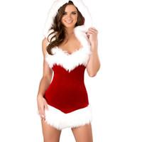 babydolls para mujeres al por mayor-Ropa interior sexy roja navidad santa claus lencería sexy erótica trajes de las mujeres babydoll vestido con capucha babydolls chemises AD0749
