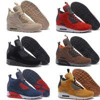 ventas de invierno zapatos para correr al por mayor-Venta caliente Cushion Winter Sneakerboot zapatillas High Men Winter Sneaker Shoes