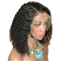Wholesale lace wig human hair medium resale online - Short Kinky Curly Full Lace Wigs Natural Black Human Hair X6 Lace Front Wigs Brazilian Curly Lace Frontal Wig For Black Women