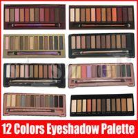 12 renk göz farı paleti toptan satış-Fırça Mat Nü Yüz makyaj göz farı 12 renk göz farı paleti göz farı 1 ila 4 5 7 8 ısı kiraz 12colors