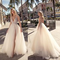 Wholesale new white ivory lace wedding dress resale online - Sexy Plunging V Neck A Line Tulle Wedding Dresses New Arrival Sequins Beaded Tulle Bridal Gowns with High Split Beach Wedding Gowns