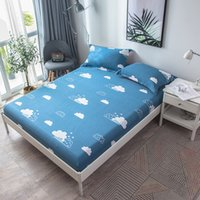 Wholesale blue ocean bedspread for sale - Group buy Blue Stripes Rain Cloud Fitted Sheet Cotton Bed Sheet for Children Adults Bedding Mattress Cover and case Bedspreads