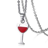 personalisierte glasanhänger halskette großhandel-Personalisierte Herren Womens Rot Farbe Rotweinglas Form Edelstahl Anhänger Halsketten