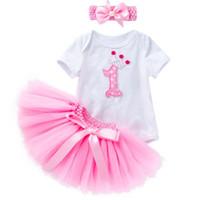 zebra de flores venda por atacado-Bebê recém-nascido meninas vestido de aniversário até bebês infantis subiu coroa de flores 1 2 romers + tutus ruffle saias + headband 3 pcs roupas de bebê conjunto roupas