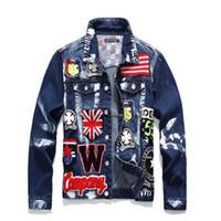 Wholesale uk jacket for sale - Group buy Hi Street Men s Fashion Denim Jacket UK Flag Embroidery Painted Denim Jacket Streetwear Coat for Male