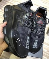 kafesli kafalar toptan satış-2019 Ucuz Yüksek Kaliteli Rahat Ayakkabılar Mens İTALYA Lüks Konfor Tasarımcı Zincir Sneakers Kadın Örgü Deri Eğitmen Elastik Alt Güzellik kafa