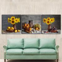 décor tournesol pour salon achat en gros de-3pcs encore la vie tournesols peintures pour la cuisine fruits décoration murale toile moderne art mur photos pour le salon sans cadre