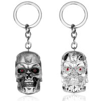 Wholesale terminator keychain resale online - movie The Terminator t800 mask skull metal alloy stereo d action figure keychain keyring for fans man boys gift