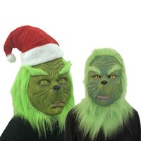 Wholesale easter costume funny resale online - Funny Grinch Stole Christmas Cosplay Party Mask Hat XMAS Full Head Latex Mask With Further Adult Costume Grinch Mask Props