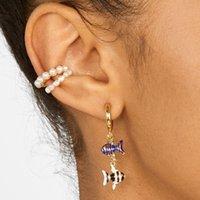 kadın kemik küpeler toptan satış-Yeni Stil Takı Tatlı Su Inci Manşet Küpe Kulak Kemik Mini Hoop Küpeler Kadınlar için